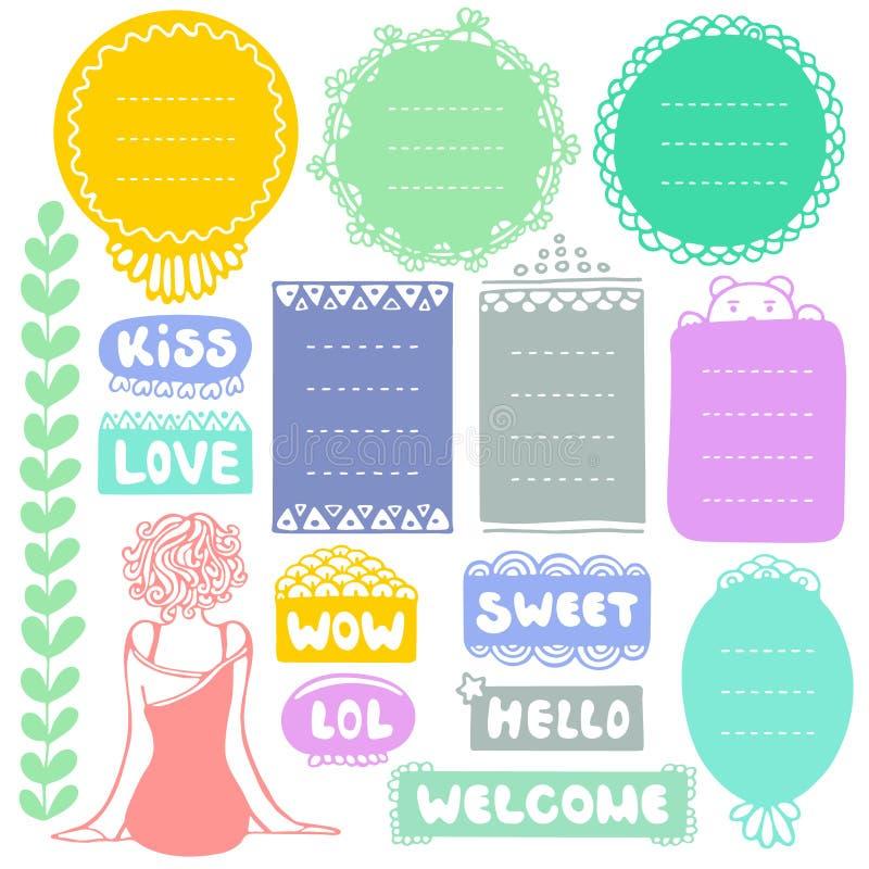 Reeks doodle frames en elementen voor opsommingsteken, notitieboekje, agenda en planner geïsoleerd op witte achtergrond royalty-vrije illustratie
