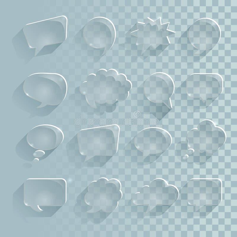 Reeks doorzichtige toespraakbellen, het ijs van toespraakbellen met lange schaduw Glaseffect vectordossier royalty-vrije illustratie