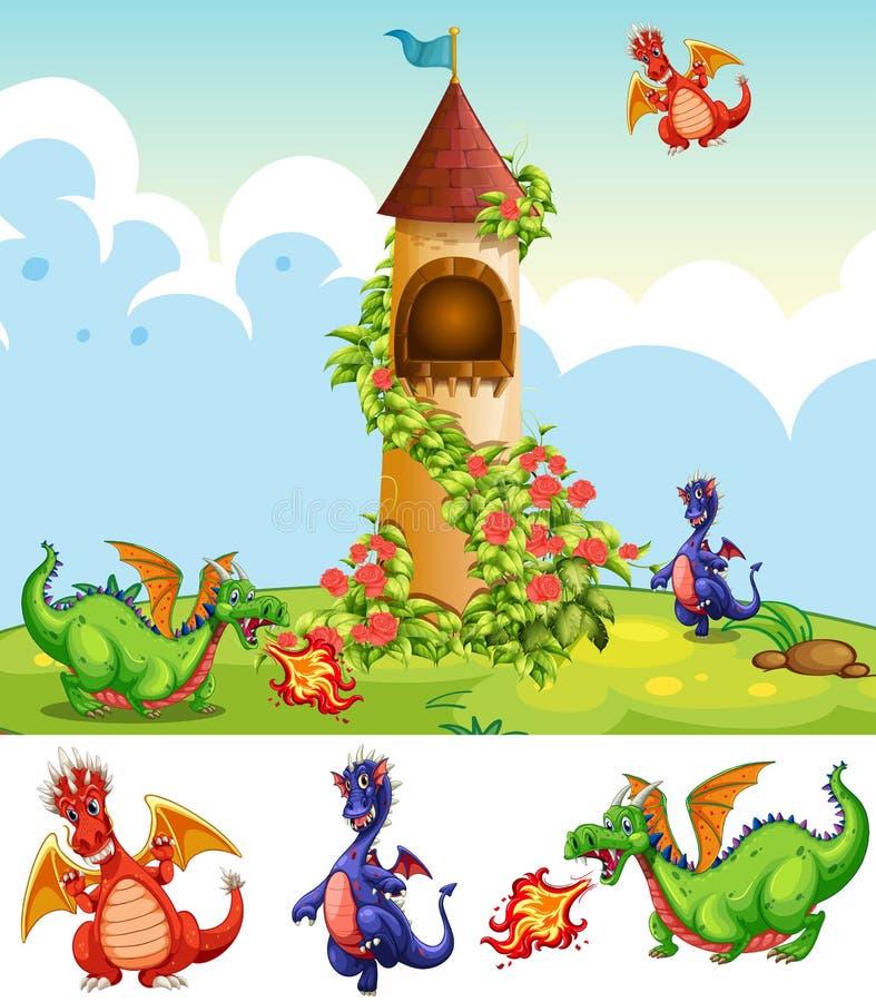 Reeks draken in kasteellandschap royalty-vrije illustratie