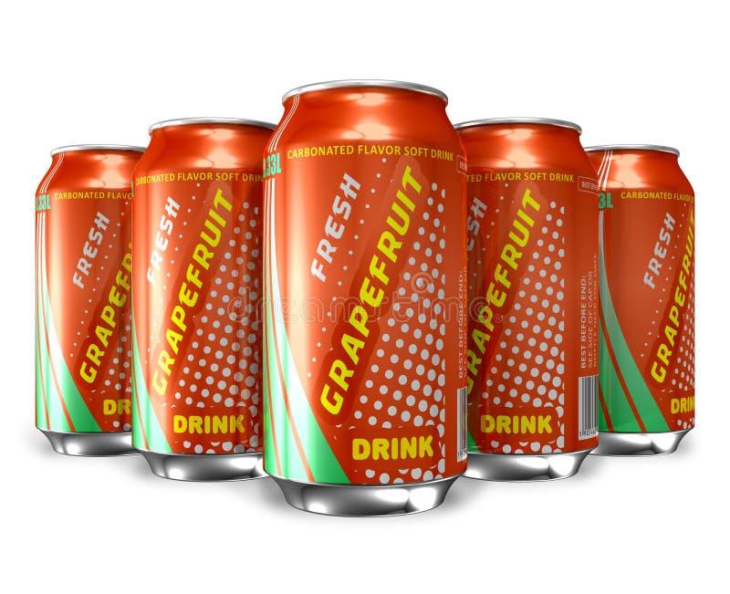 Reeks dranken van de grapefruitsoda in metaalblikken vector illustratie