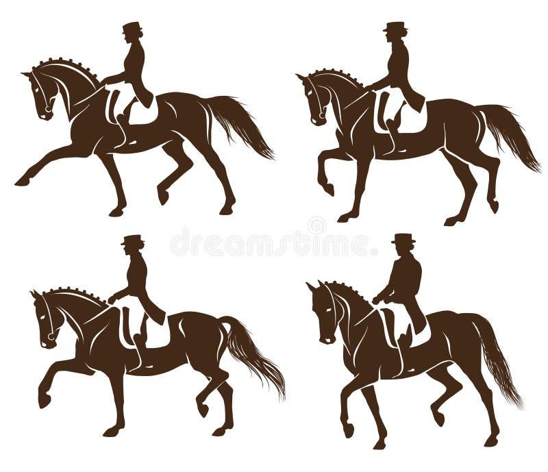 Reeks dressuurpaarden met ruiter stock illustratie