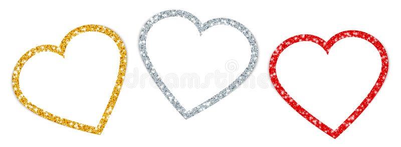 Reeks Drie draaide Hartenkader het Fonkelen Gouden Zilveren Rood royalty-vrije illustratie