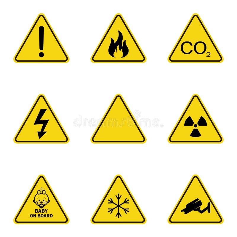 Reeks driehoekswaarschuwingsborden Waarschuwend roadsign pictogram Gevaar-waarschuwing-aandacht teken Gele achtergrond royalty-vrije illustratie