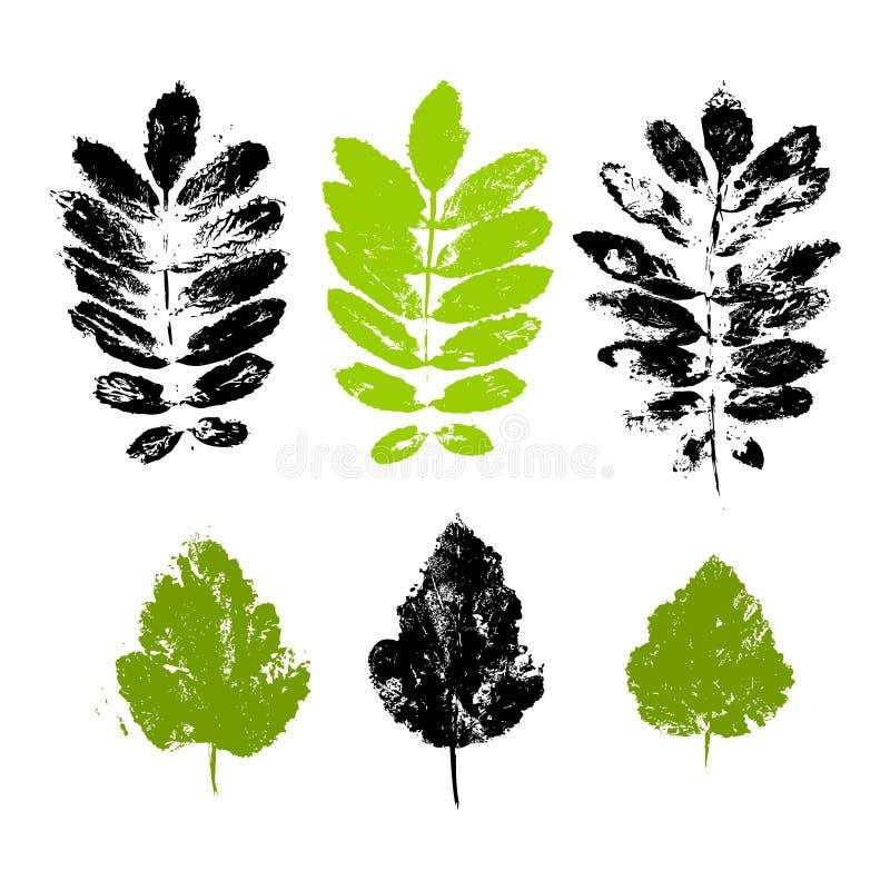 Reeks drukken van bladeren royalty-vrije illustratie