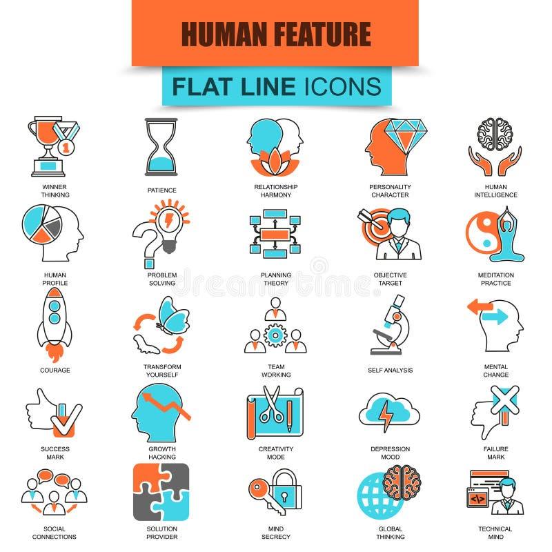 Reeks dunne diverse geestelijke eigenschappen van lijnpictogrammen van menselijke hersenen vector illustratie