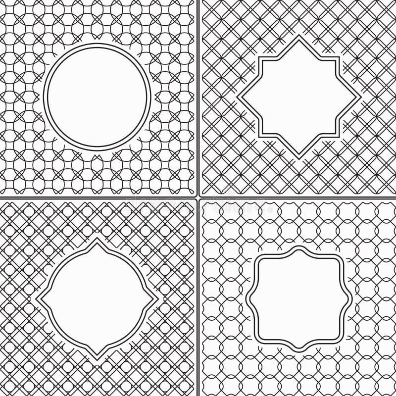 Reeks Dunne Lijn Uitstekende Kaders op Zwart-wit vector illustratie