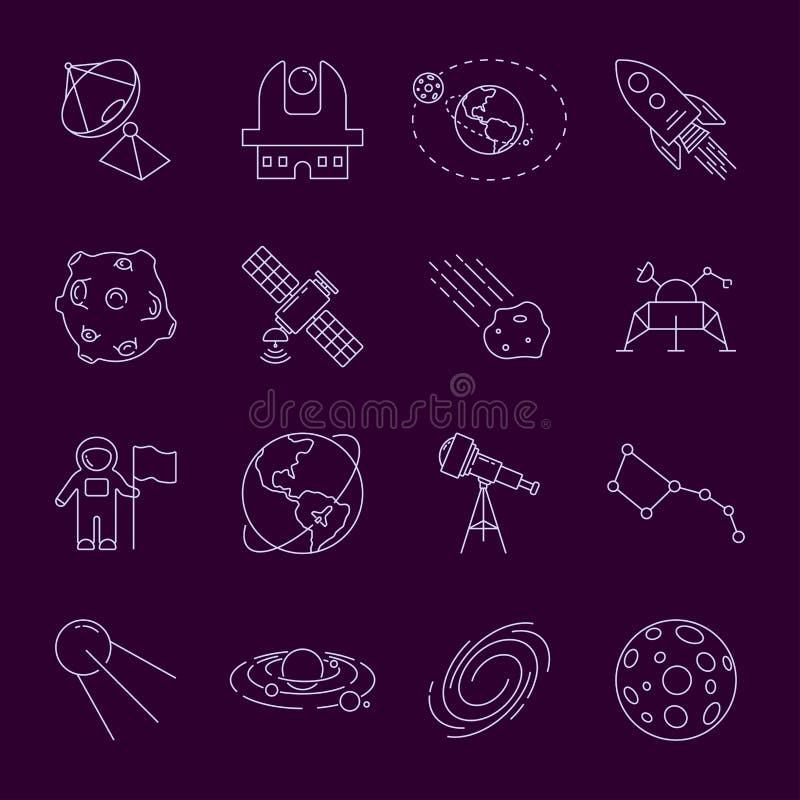 Reeks Dunne LineVector-Astronomie en Ruimtepictogrammen Ruimtevaarder, astronaut, zonnestelsel, melkweg, planeet, aarde, satellie vector illustratie