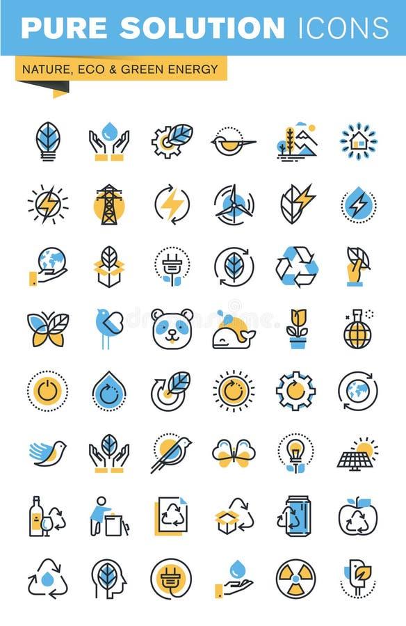 Reeks dunne pictogrammen van het lijn vlakke ontwerp van aard, eco en groene energie royalty-vrije illustratie