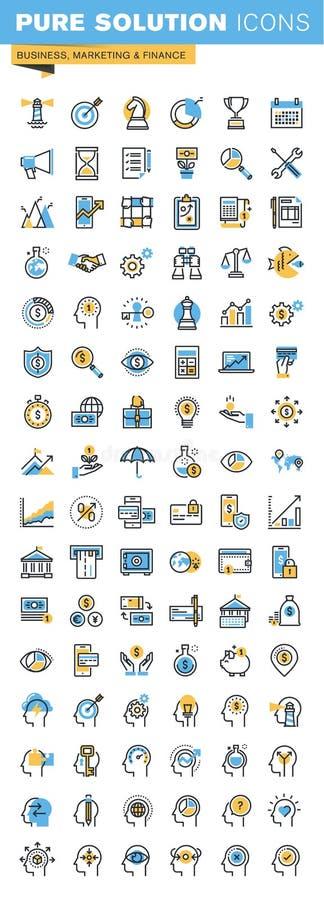 Reeks dunne pictogrammen van het lijn vlakke ontwerp van zaken, marketing en financiën stock illustratie