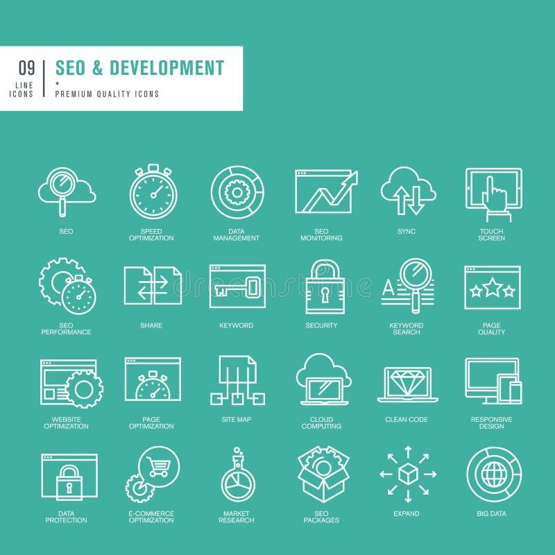 Reeks dunne pictogrammen van het lijnenweb voor de ontwikkeling van SEO en van het Web stock illustratie
