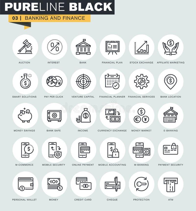 Reeks dunne pictogrammen van het lijnweb van bankwezen en financiën vector illustratie