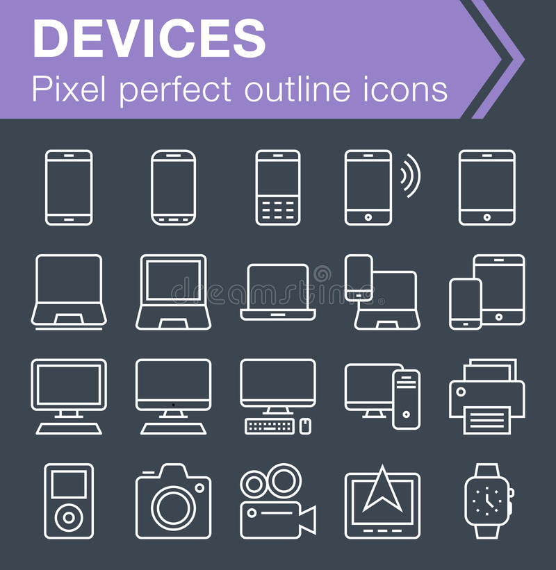 Reeks dunne pictogrammen van lijnapparaten royalty-vrije illustratie
