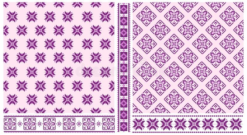 Reeks dwars gestikte patronen en grenzen vector illustratie