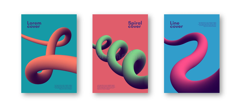 Reeks dynamische 3D vormen kleurrijke achtergronden Krachtige plastic abstracte dekking vector illustratie