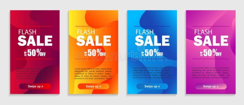 Reeks dynamische geometrische vloeibare vormen Moderne ontwerpdekking voor website, presentaties of mobiele toepassingen Vectorve royalty-vrije illustratie