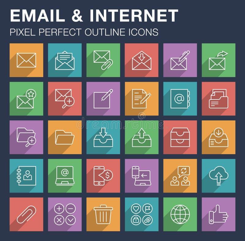 Reeks e-mail en Internet-pictogrammen met lange schaduw stock illustratie