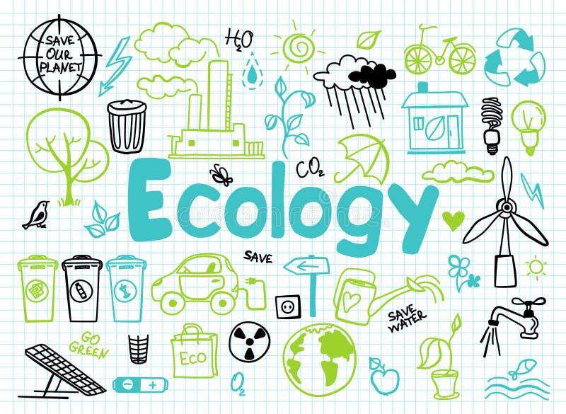 Reeks ecologie, ecologieprobleem en groene energiepictogrammen stock illustratie