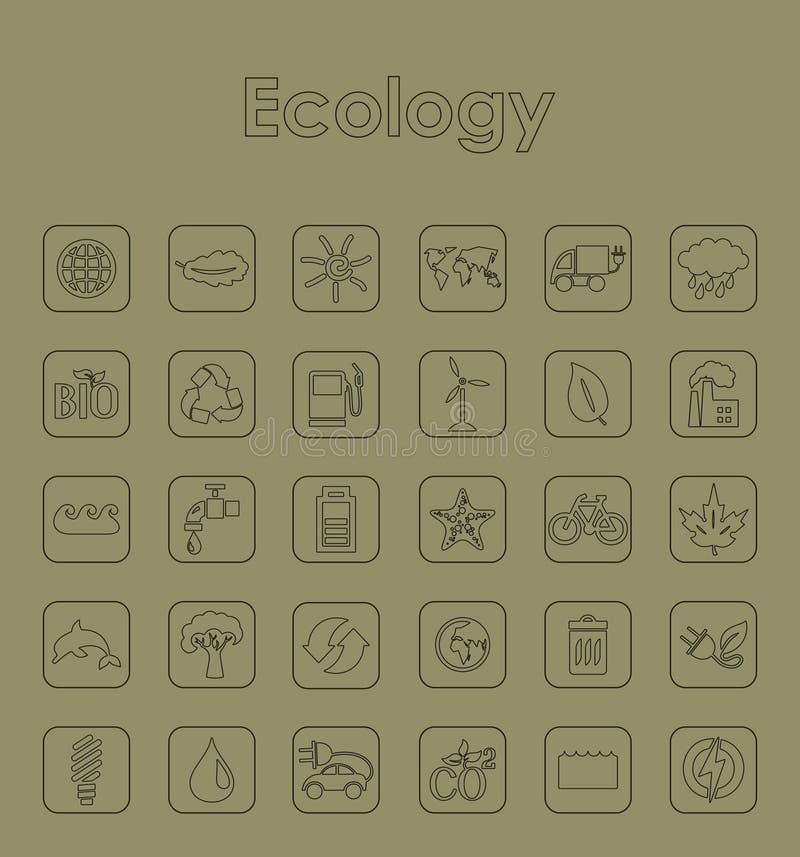 Reeks ecologie eenvoudige pictogrammen stock illustratie