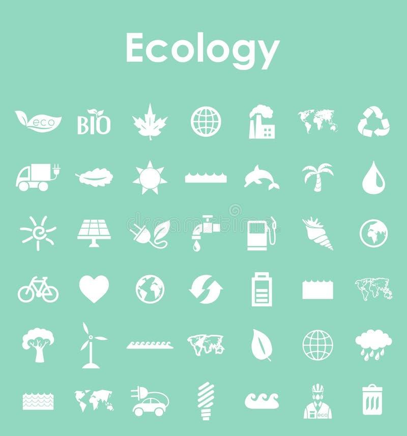 Reeks ecologie eenvoudige pictogrammen vector illustratie