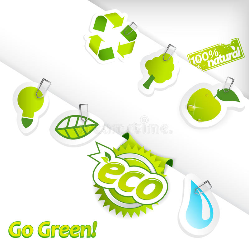 Reeks ecologiestickers. royalty-vrije illustratie
