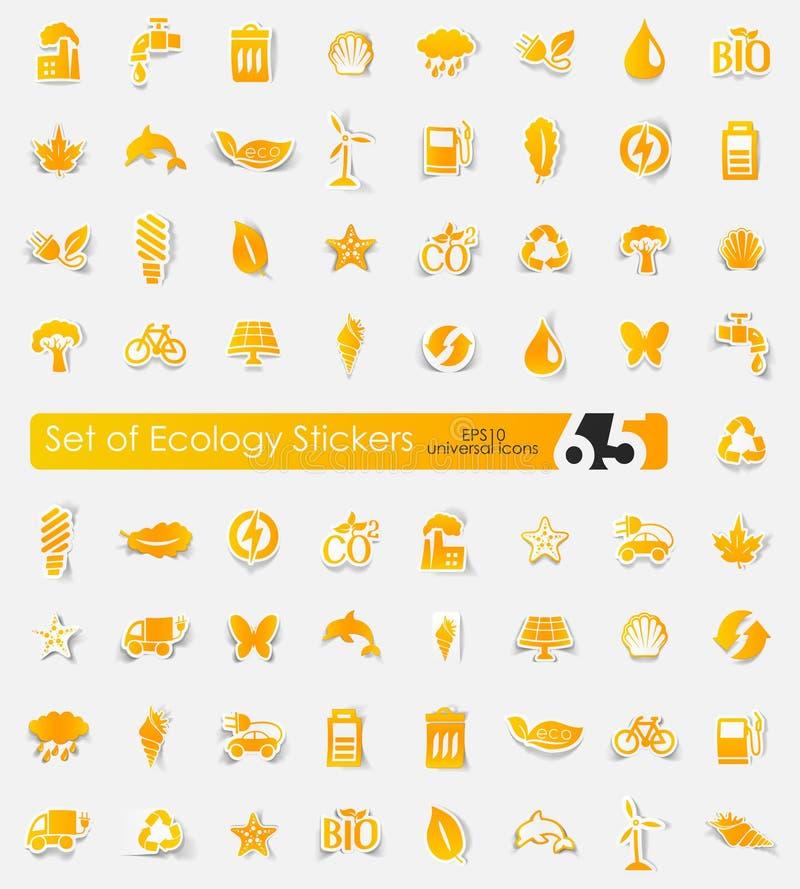Reeks ecologiestickers vector illustratie