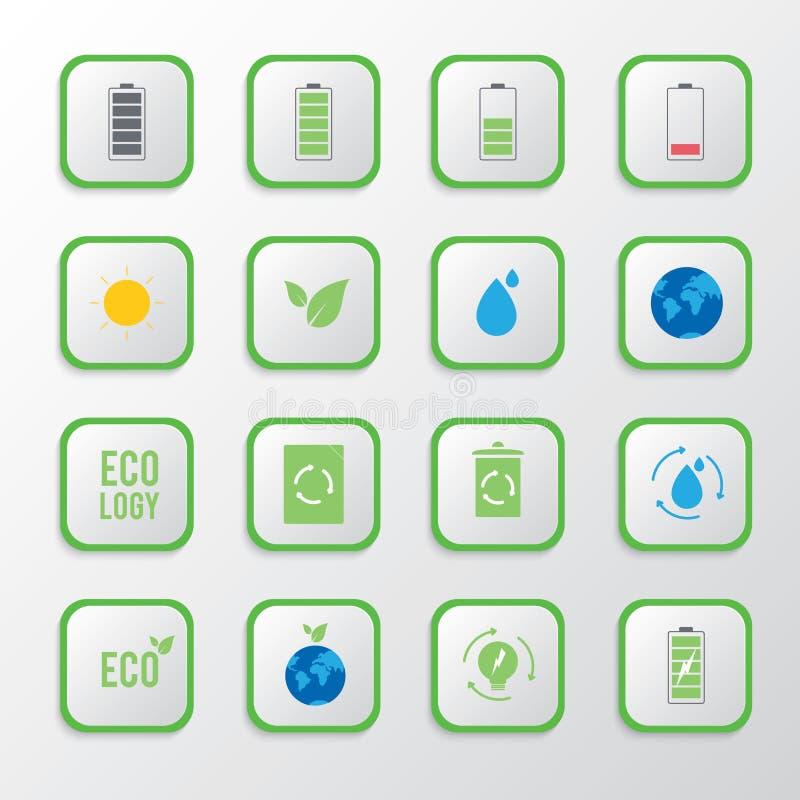 Reeks ecologische pictogrammen op groene knoop, Tekens en symbolenvector royalty-vrije illustratie