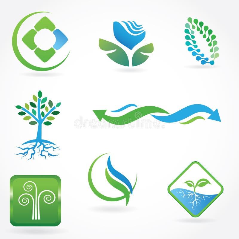 Reeks ecologische symbolen stock illustratie