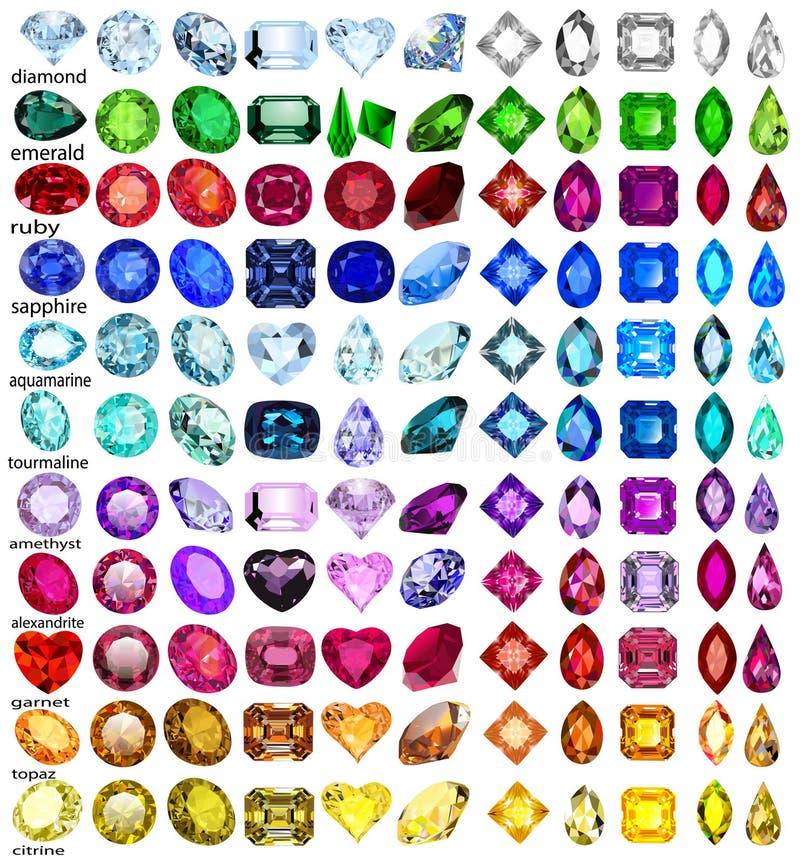 Reeks edelstenen van verschillende besnoeiingen en kleuren royalty-vrije illustratie