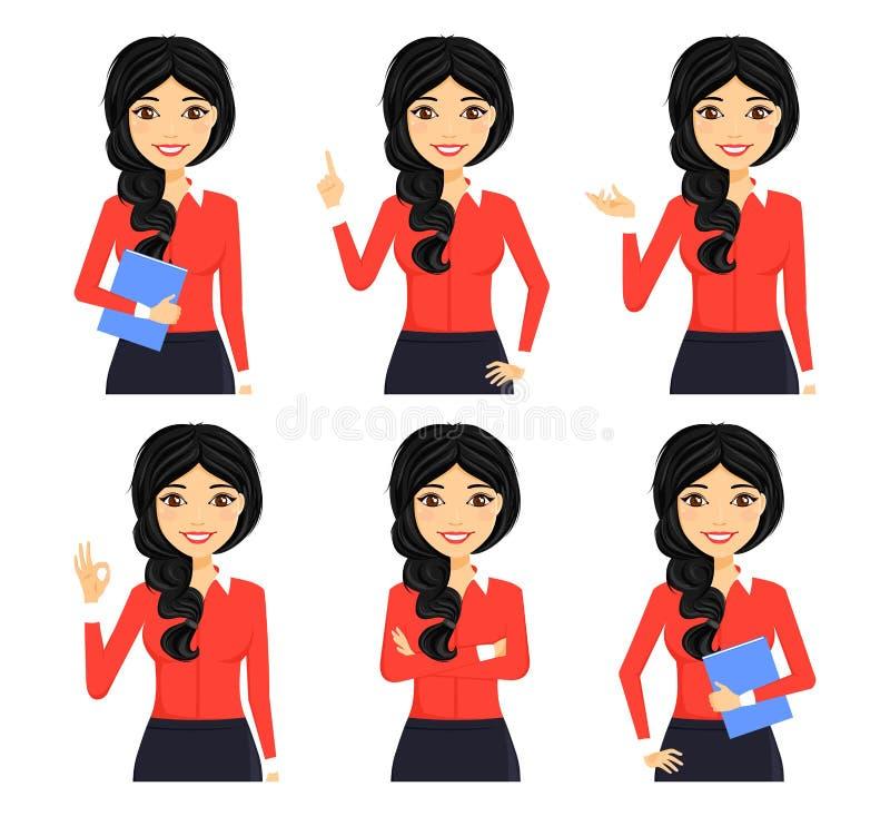 reeks Een jonge meisjeswerknemer in het bureau in een portretstijl Verschillend stelt Mooi meisje karakter Zaken en Financi?n stock fotografie