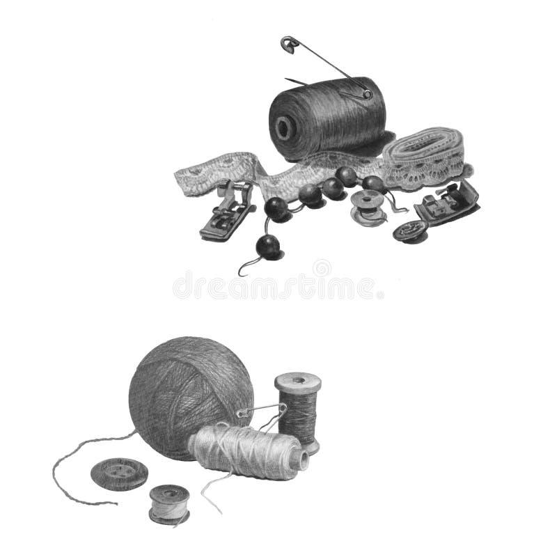 Reeks een verscheidenheid van naaiende die levering, op wit wordt geïsoleerd Zwart-witte mooie illustratie van een ambachtsuitrus stock afbeeldingen