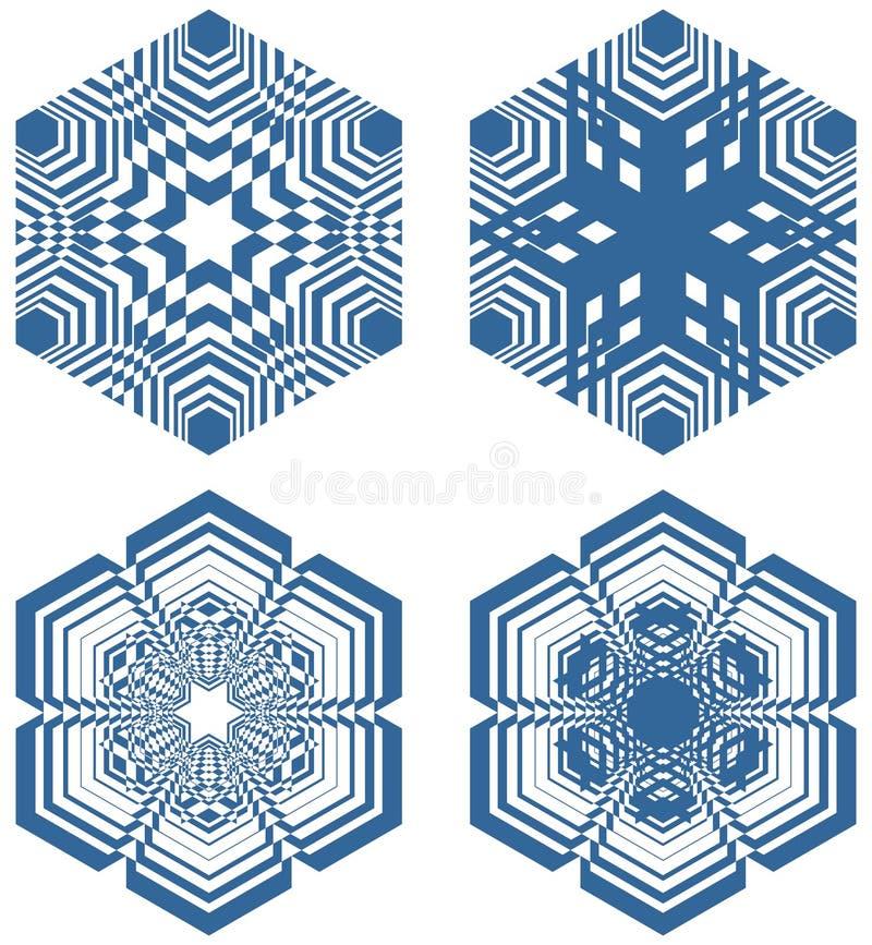 Reeks eenvoudige geometrisch ontwerpelementen, blauwe vormen op witte achtergrond, inzameling van mooie decoratieve patronen vector illustratie
