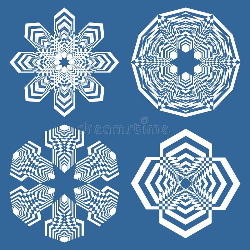 Reeks eenvoudige geometrisch ontwerpelementen, witte vormen op blauwe achtergrond, inzameling van mooie decoratieve patronen royalty-vrije illustratie