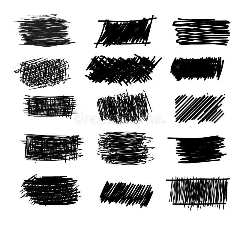 Reeks eenvoudige gewaagde uitbroedende krabbellijnen, krommen, kaders De schets van de potloodinzameling op wit wordt geïsoleerd  vector illustratie