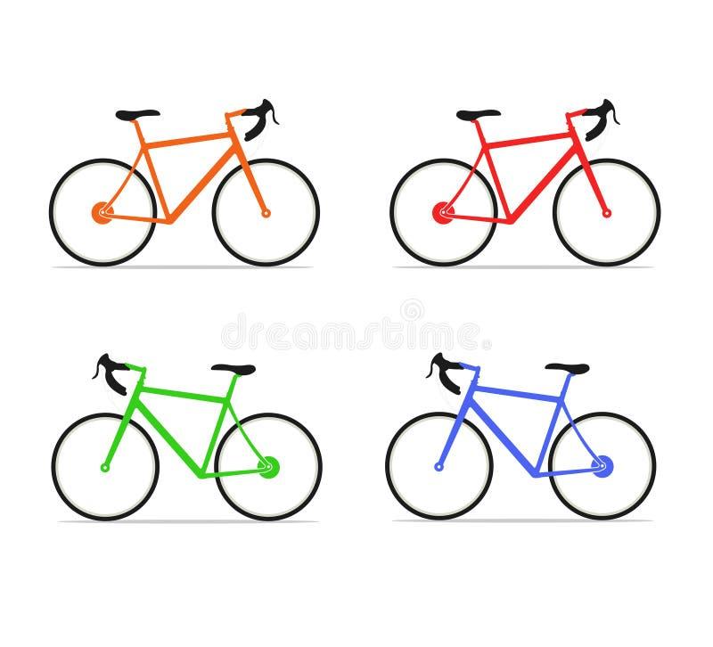 Reeks eenvoudige kleurrijke fietspictogrammen royalty-vrije illustratie