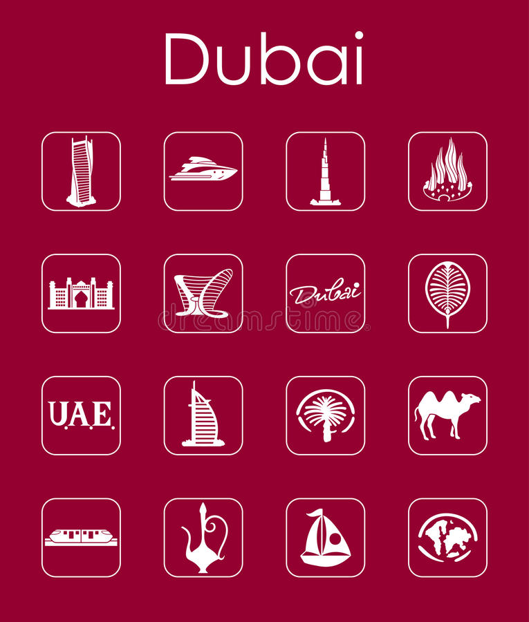 Reeks eenvoudige pictogrammen van Doubai stock illustratie