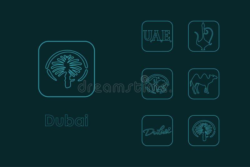 Reeks eenvoudige pictogrammen van Doubai vector illustratie