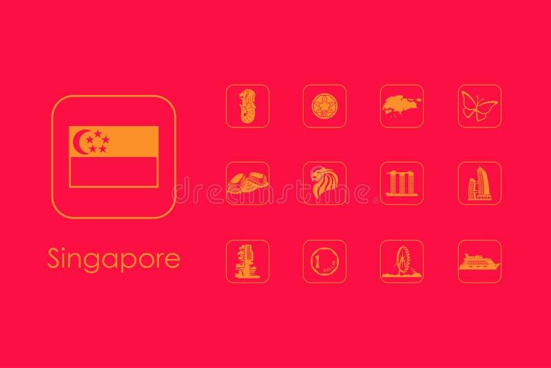 Reeks eenvoudige pictogrammen van Singapore royalty-vrije illustratie