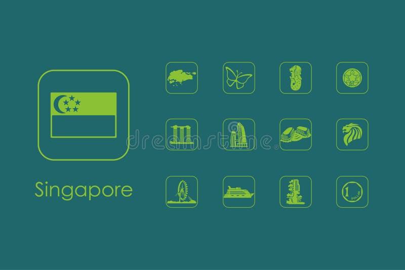 Reeks eenvoudige pictogrammen van Singapore vector illustratie