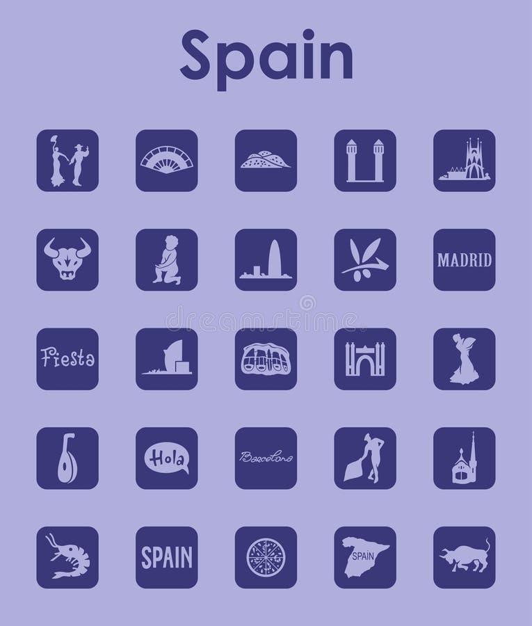 Reeks eenvoudige pictogrammen van Spanje vector illustratie