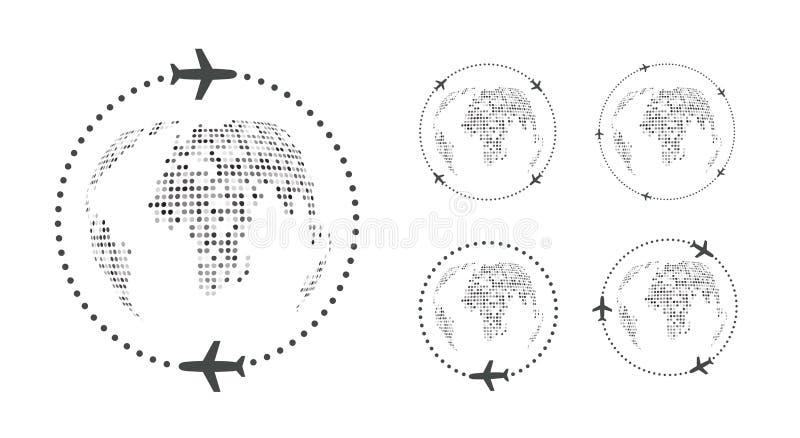 Reeks eenvoudige reizende pictogrammen Rond wereld op vliegtuig Het embleemmalplaatje van de vliegtuigreis Het vectorpictogram va vector illustratie