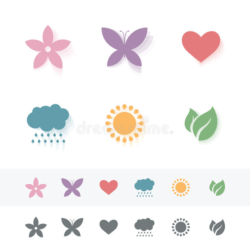 Reeks eenvoudige romantische Vlakke Pictogrammen stock illustratie
