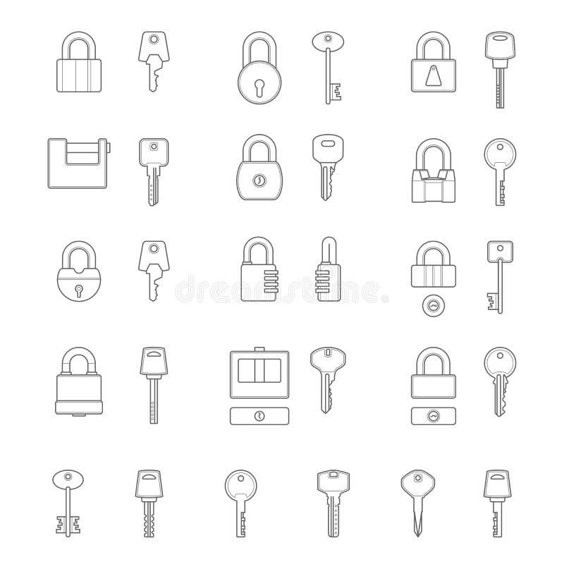 Reeks eenvoudige vectorpictogrammen als ontwerpelementen - metaalsloten en sleutels veiligheid Geïsoleerd op een witte achtergron royalty-vrije illustratie