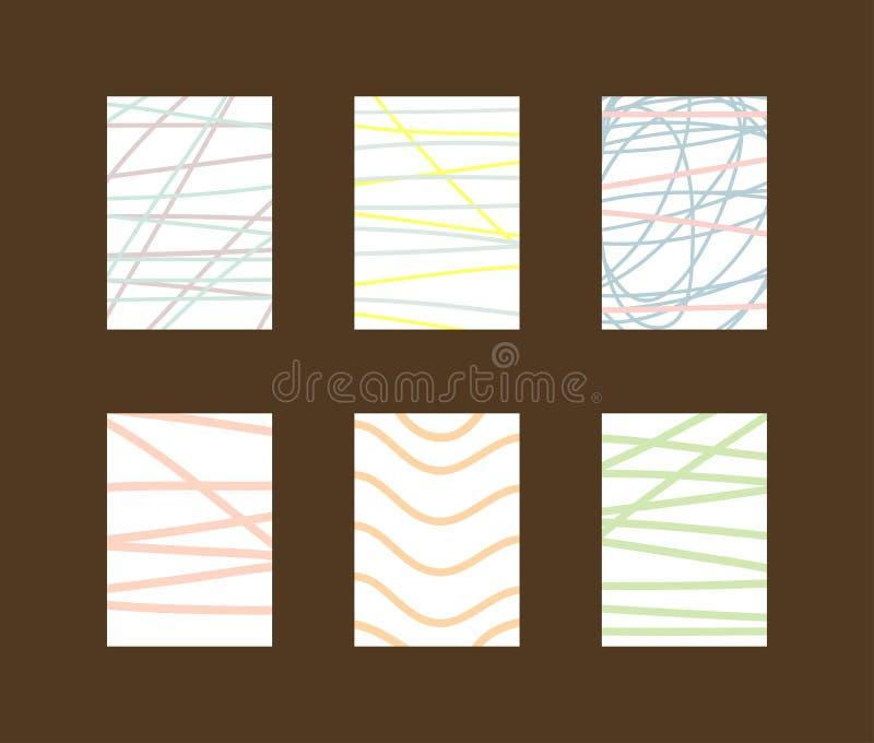 Reeks eenvoudige verticale achtergronden met gekrabbel en lijnen vector illustratie