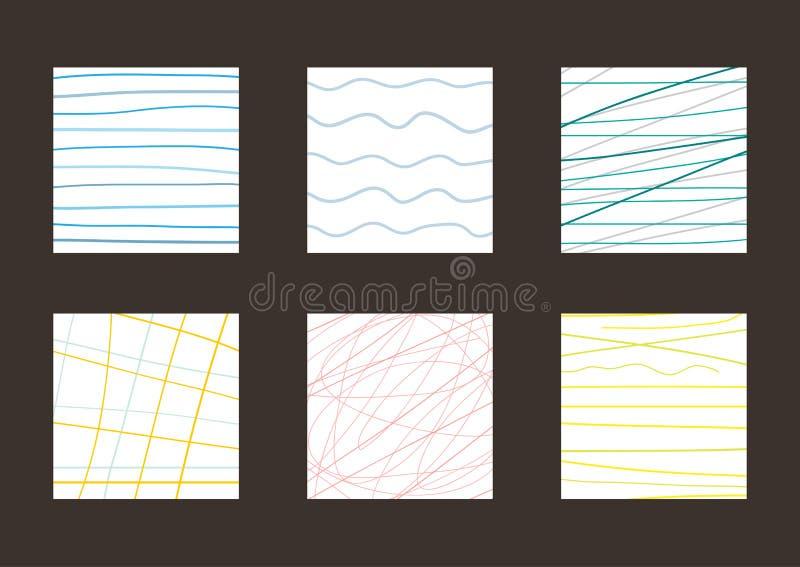 Reeks eenvoudige vierkante achtergronden Schets, met de hand getrokken krabbel, vector illustratie