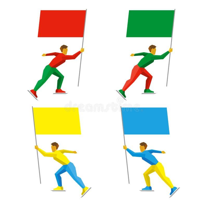 Reeks eenvoudige vlakke atleten die met gekleurde vlaggen schaatsen royalty-vrije illustratie