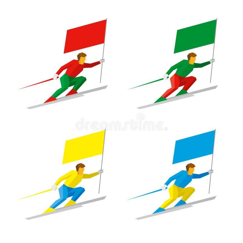 Reeks eenvoudige vlakke atleten die met gekleurde vlaggen ski?en vector illustratie
