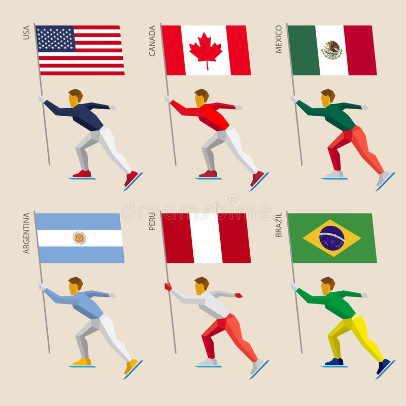 Reeks eenvoudige vlakke atleten die met vlaggen schaatsen vector illustratie