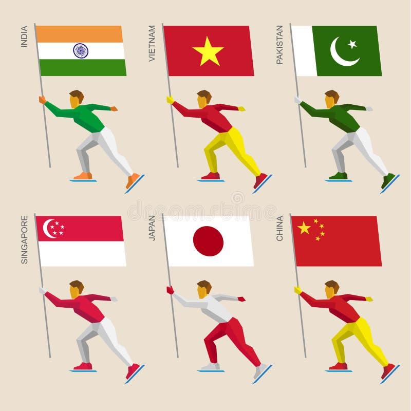 Reeks eenvoudige vlakke atleten die met vlaggen van Azië schaatsen vector illustratie