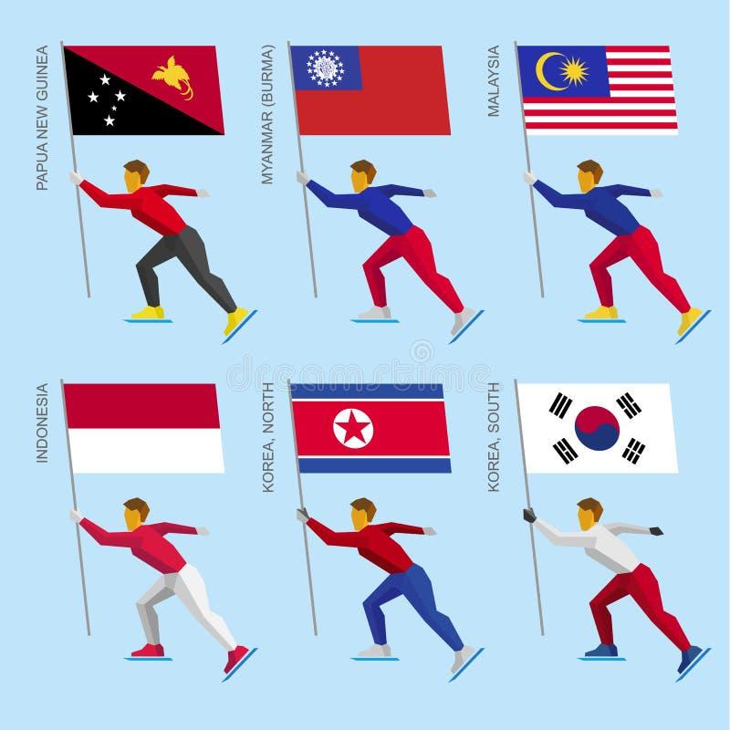 Reeks eenvoudige vlakke atleten die met vlaggen van Aziatische landen schaatsen stock illustratie