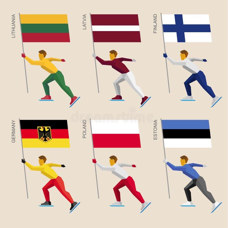Reeks eenvoudige vlakke atleten die met vlaggen van Europese landen schaatsen vector illustratie